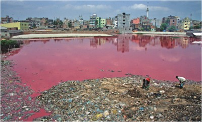 Tannery wastes, both solid and liquid, stuck in a low land of Hazaribagh in the capital, exposing locals to severe health hazards. The photo was taken recently.