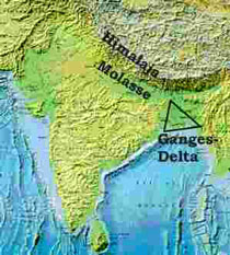 himalayas and ganges delta