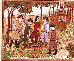 killing tiger is a sport since colonial time, embroidered quilt