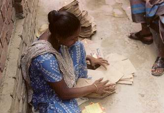 preparing paper bags -recycle paper