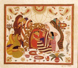 traditional quilt showing marriage ceremony
